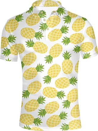 Hugs Idea Fashion Mens Golf Sport Shirt Pineapple Summer Short Sleeve Hawaiian T-Shirt Tees