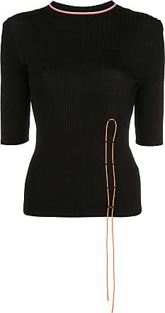 I-am-chen toggle fastened half sleeve top - Preto