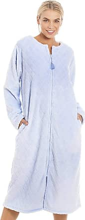 Camille Womens Supersoft Light Blue Zip Front Diamond Print Housecoat 14/16