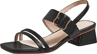 Mediffen Fashion Summer Sandals Ankle Strap Women Mid Heels Sandals Evening Block Heels Sandals Ladies Comfort Open Toe Sandals Black Size 38 Asian