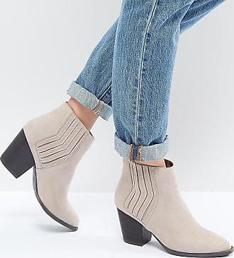 Qupid Western Kitten heel Chelsea Boots - Beige