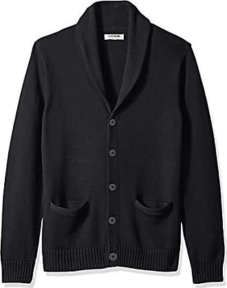 Goodthreads Mens Soft Cotton Shawl Cardigan Sweater, Solid Black, X-Small