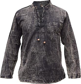 Gheri Mens Hemp Cotton Lace Up V Neck Grandad Shirt Stone Washed Black XX-Large