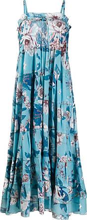 Diane Von Fürstenberg Vestido com estampa floral e amarração - Azul