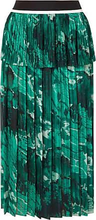 Victoria Beckham Tiered Printed Plissé-crepe Midi Skirt - Forest green