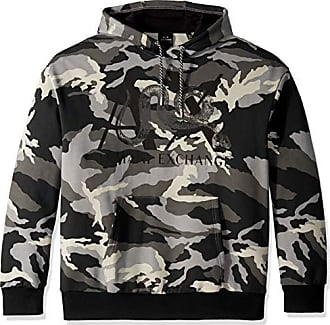 06320c98a36ad A|X Armani Exchange Mens Snake Camo Hooded Sweatshirt, Grey, M
