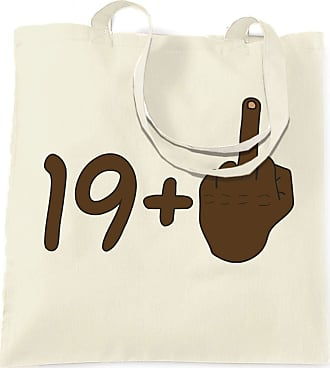 Tim And Ted Rude 20th Birthday Tote Bag Black Middle Finger - (Natural/One Size)