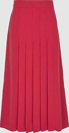 Reiss Cleona - Box Pleated Midi Skirt in Magenta, Womens, Size 14