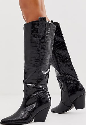 Z_Code_Z Exclusive Nuria vegan knee high western boots in black