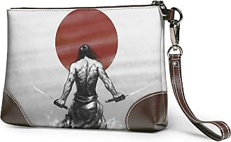 GLGFashion Womens Leather Wristlet Clutch Wallet Samurai Picture Storage Purse With Strap Zipper Pouch