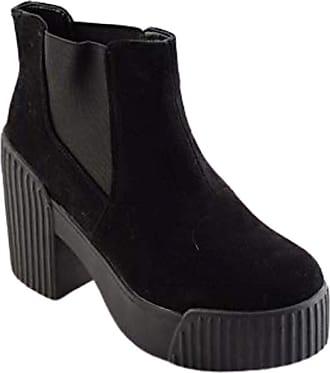 Truffle Carla 1 Black Suede Ladies Ankle Platform Vegan Boots Combat Boot[Ladies UK 5 / EU 38]