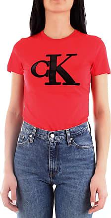 Calvin Klein Jeans Flock Monogram Crew Neck T-Shirt Womens (x-Large) Red
