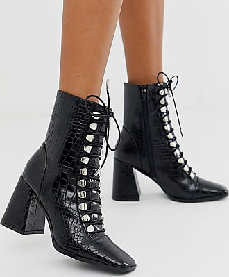 Z_Code_Z Exclusive Naara vegan lace up heeled ankle boots in black croc effect