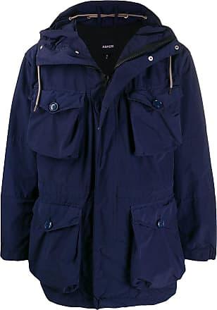 Aspesi Casaco impermeável com bolsos e capuz - Azul