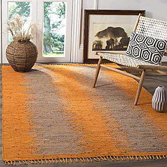 Safavieh Montauk Collection MTK718R Handmade Flatweave Orange Cotton Area Rug (6 x 9)