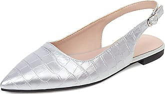Mediffen Casual Flats Women Pointed Toe Comfort Flats Slingback Flats Shoes Female Driving Shoes Flat Walking Shoes Silver Size 45 Asian