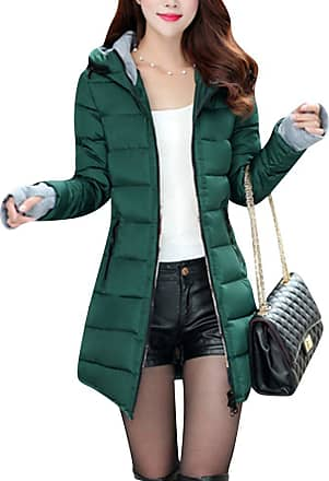 ZongSen Womens Long Down Coat Hooded Ultralight Packable Jacket Warm Coats Outwear Dark Green XL