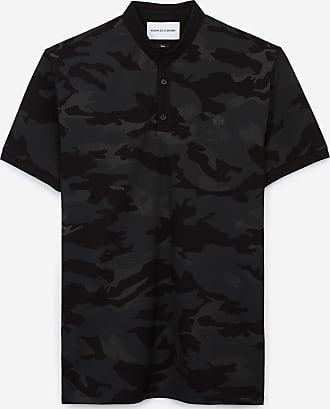 The Kooples Black slim-fit camouflage printed cotton polo - MEN