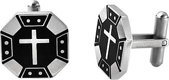 Zales Mens Cross Octagonal Cuff Links in Two-Tone Stainless Steel