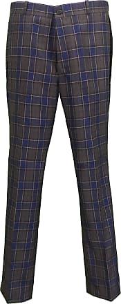 Relco Mens Classic Retro Mod Sta Press Trousers (34, Navy/Grey)
