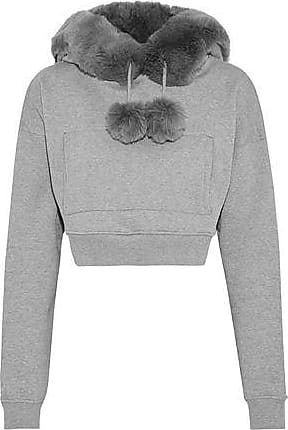 Opening Ceremony Opening Ceremony Woman Cropped Faux Fur-trimmed Mélange Cotton-fleece Hoodie Gray Size XS