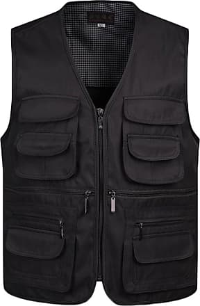 Yonglan Mens Outdoor Quick-Dry Fishing Vest Multi Pockets Vest Zip Closure Hunting Travel Photography Waistcoat Black 2XL