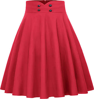 Belle Poque Vintage Womens High Waist Pockets Flared A-Line Skirt Red(560-3) X-Large