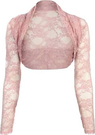 Top Fashion18 Womens Long Sleeve Lace Floral Ladies Cropped Short Shrug Bolero Cardigan Top 8-22 Baby Pink
