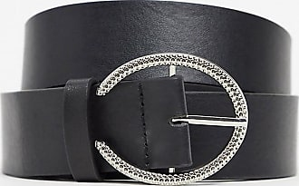 Glamorous Curve waist and hip belt in black with silver minimal round buckle
