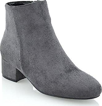 ESSEX GLAM Damen Grau Wildlederimitat Niedriger Absatz Kurzshaft  Stiefeletten Chelsea Schuhe EU 36 6a9bbd1f62
