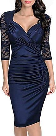 67e6662cc09f63 Miusol Damen Elegant Sommer Kleid Spitzen 3/4 Arm Wickelkleid Cocktailkleid  Blau Gr.XXL
