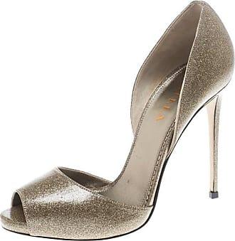 0a9d21ed6c9f 1stdibs Le Silla Gold Glitter Leather Peep Toe Sandals Size 38