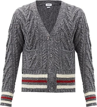 Thom Browne Striped Wool-bend Cable-knit Cardigan - Mens - Grey