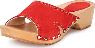 Ladeheid Women´s Wood Shoes Clogs House Shoes LAFA083 (Red, 40 EU = 6.5 UK)