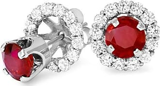 Pompeii3 75CT Ruby Studs & Earring Halo Jackets 14k White Gold
