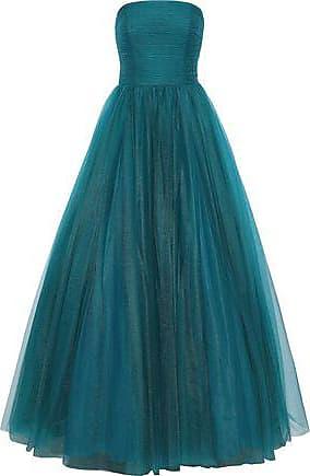 Badgley Mischka Badgley Mischka Woman Strapless Pleated Tulle Gown Teal Size 10