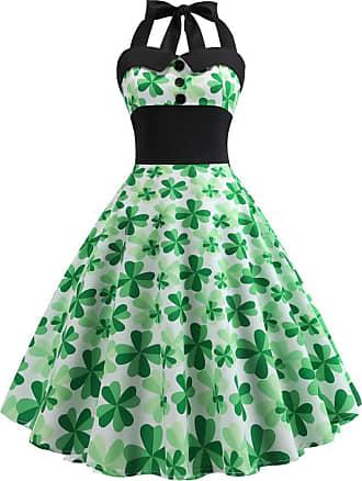 NPRADLA MRULIC St. Patricks Day Dress Womens Vintage Fashion Clover Print Dresses 1950s Halter Neck Lace Up Back Cocktail Party Swing Dresses Sleeveless Big S