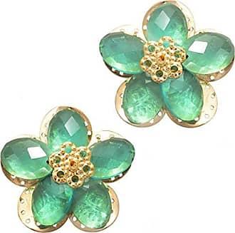 Tinna Jewelry Brinco Dourado Margarida Com Resina Verde