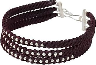 Novica Silver beaded wristband bracelet, Maroon Moons