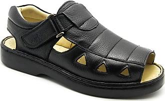 Doctor Shoes Antistaffa Sandália Masculina 303 em Couro Floater Preto Doctor Shoes-Preto-38