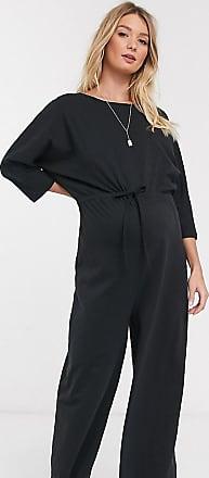 Asos Maternity ASOS DESIGN Maternity lounge tie waist casual jumpsuit in jersey slub-Black