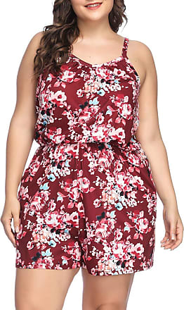 FeelinGirl Womens Floral Jumpsuits Sleeveless Short Beach Romper Playsuit Red 4XL