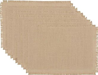 VHC Brands Rustic & Lodge Holiday Tabletop & Kitchen - Jute Burlap Natural Tan Placemat Set of 6, 12 x 18 Oval