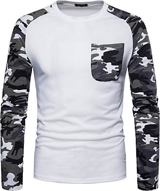 FNKDOR Spring Fall Mens Baseball Sunproof Casual Camouflage Print O Neck Pullover Long T-Shirt Top Blouse (UK-18/CN-L, White)