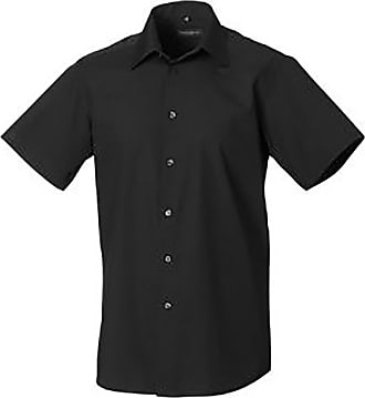 Russell Athletic Russell Collection Mens Short Sleeve Poly-Cotton Easy Care Tailored Poplin Shirt (4XL) (Black)