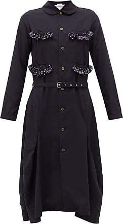 Comme Des Garçons Comme Des Garçons Girl - Ruffle-trim Belted Canvas Midi Dress - Womens - Navy
