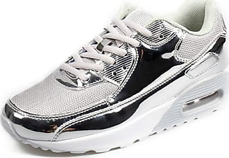 LanFengeu Men Running Shoes Shock Absorbing Breathable Low Top Casual Sneakers Outdoor Platform Non Slip Fitness Walking Trainers Sliver