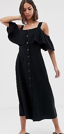 Whistles frill button midi dress-Black
