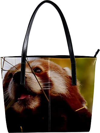 Nananma Womens Bag Shoulder Tote handbag with Panda Print Zipper Purse PU Leather Top-handle Zip Bags