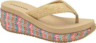 Dunlop Ladies Toe Post Low Wedge Flip Flops Raffia Beach Summer Sandals Shoes Size 3-8 (8 UK, Beige.Multi)